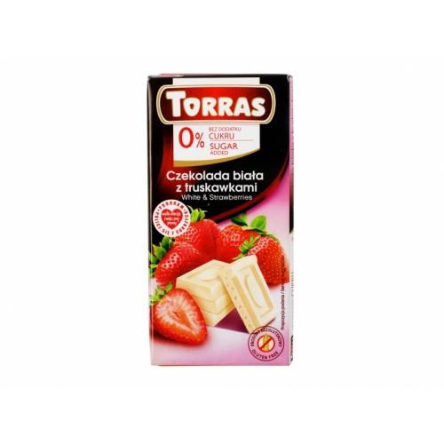 Czekolada biała z truskawkami - 75g Torras